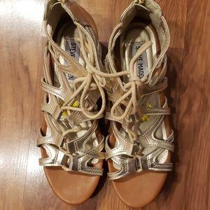 Steve Madden Size 5 Gold Gladiator Sandals